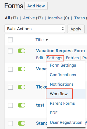 Gravity forms workflows