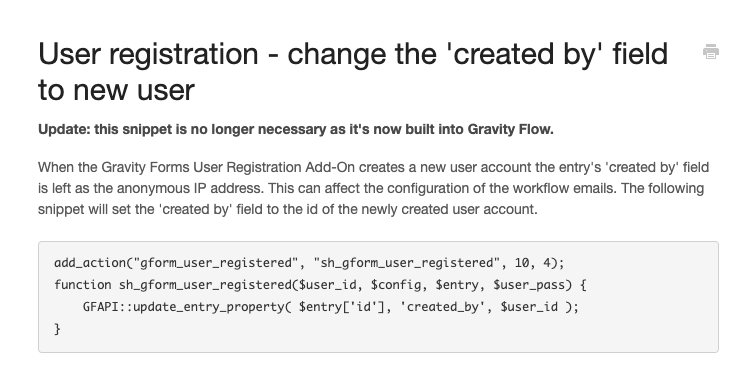 User registration snippet now built into Gravity Flow